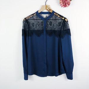 [LC LAUREN CONRAD] Lace Button Front Shirt